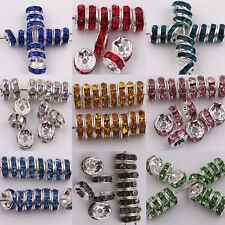 Lots 50/100Pcs Acrylic Silver Plated Spacer Loose Beads Charms Findings 8mm