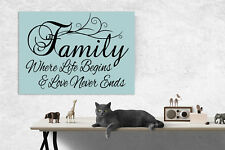 Family Wall Decor Picture Quote... Blue Wall Art Canvas Print Picture A1/A2/A3