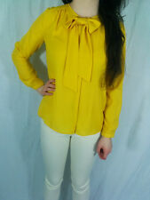 ♥ZARA Blogger Mustard Pussy Bow Blouse Top Size XS S M L 8 10 12 14 16 RRP £30♥