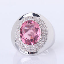 Pink Sapphire ring !18K white gold filled oval lady's party ring Sz6-Sz10