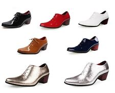 1.96 inch Fashion Mens high chunky heel casual patent leather dress shoes 0258