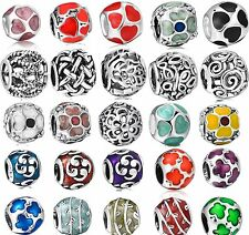 925 Sterling Silver Enamel Flower Love Heart Serie Fit European Charm Bracelets