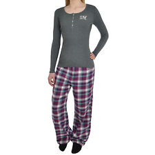 HNY Vintage Womens Long Sleeve Cotton Pyjamas PJS Bottoms & Top Set Nightwear
