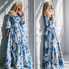 Sexy Womens Floral Chiffon off shoulder Puff Cocktail Party Maxi Strapless Dress