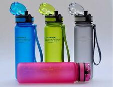 Outdoor Sports 500ml Water Bottle Casual BPA free With Silicon Straw Unisex