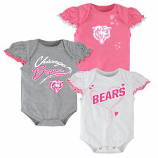 Chicago Bears Infant Girls 3-Piece Ruffle Creeper Set - White/Pink/Ash