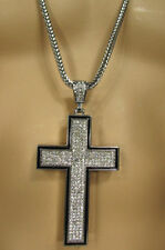 """A Men Metal Chains 35"""" Long Fashion Necklace Silver Pewter Board Cross Pendant"""