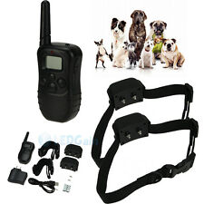 100LV Level Shock Vibra Remote Rechargeable Waterproof LCD 2 Dog Training Collar
