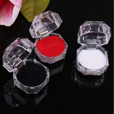 Clear Acrylic Crystal Box Storage Display Case Ring Earring Jewelry Organizer JT