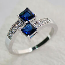 Jewelry Ring Size 7/8/9/10 Blue Sapphire Lady's 10K White Gold Filled Engagement