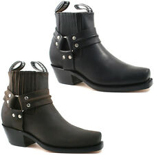 MENS GRINDERS COWBOY LEATHER ANKLE BOOTS SIZE UK 6 - 12 BLACK BROWN HARNESS LO