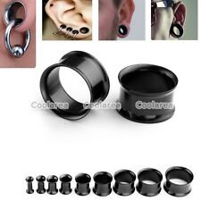2x Black Stainless Steel 8g-5/8 Double Flare Tunnels Ear Plugs Earlets Stretcher