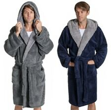 MENS 100% POLYESTER FLEECE BATHROBE DRESSING GOWN ROBE