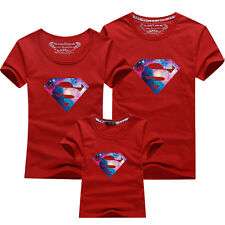 Family fitted Father mother baby summer clothes for Superman lovers T-shirt