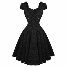 Hearts & Roses London Black Tattoo 1950s Rockabilly Vintage Party Prom Dress