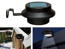 BLACK 2/4/6 SOLAR 3 LED SUN POWERED GUTTER FENCE DOOR WALL LIGHTS OUTDOOR GARDEN