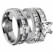 Nice 3 Pcs Mens & Womens Stainless Steel His Her Engagement Wedding Ring Set