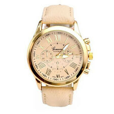 Women Geneva Anolog Watch Lady Roman Numerals Faux Leather Band Watch Quartz Hot