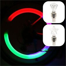 2 x VALVE DUST CAP TIRE TYRE COLOUR LED NEON CAR BIKE WHEEL SPOKE LIGHTS SAFETY