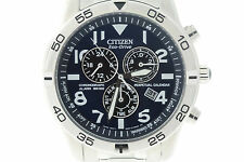 Men's Citizen BL5470-57L Eco-Drive Stainless Steel Chronograph Blue Dial Watch