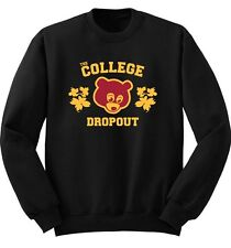 College Dropout Kanye West BLACK CREW Sweater Match Yeezy Yeezus Rap GOOD Music