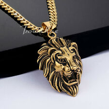Gothic Gold Tone 316L Stainless Steel Lion Head Pendant Necklace Mens Boys Chain