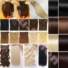 "18"" 20"" 22"" Full head clip in hair extensions / ponytail bangs woman many color"