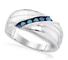 Great Look! Men's .925 Sterling Silver Channel Set Blue Diamond Ring Band .33ct