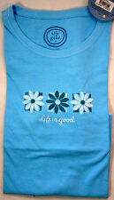 Life Is Good Women T-Shirt Boxed Flowers Pool Blue Classic Fit NWT