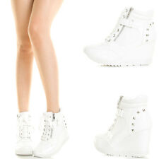 White High Top Lace Up Zipper Velcro Stud Wedge Heel Women Sneaker Ankle Booties