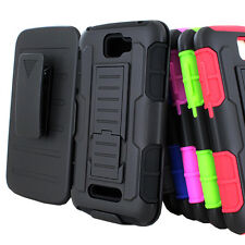 For Alcatel OneTouch Pop Icon A564C GT Armor Hybrid Hard Case Belt Clip Holster