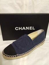 CHANEL 15A Linen Canvas Cap Toe CC Logo Espadrilles Flats Shoes Denim Blue