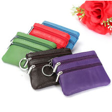 Women Men Colorful Leather Zipper Small Coin Wallet Mini Purse Pouch Keyring Bag