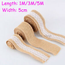 1M 3M 5M Rustic Wedding Decor Natural Jute Hessian Burlap Ribbon Tape Lace Trim