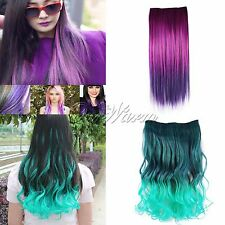 Full Head Clip in Human Made Synthetic Straight/Curly Hair Extensions New Real