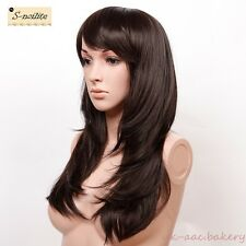 FULL HEAD WOMEN LADIES FASHION HAIR WIG DARK BROWN HEAT RESIST LONG LAYERED WIGS