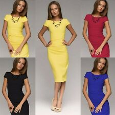 OL Sexy Ladies Short Sleeve Midi Party Bodycon Evening Cocktail Pencil Dress HOT
