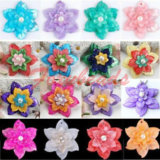 Mother Of Pearl Shell Colorful Carved Flower Bead Pendant Women Jewelry DIY Gift