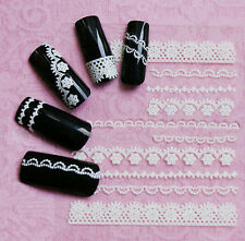 White Manicure Decoration Lace Crystal Wraps Decal Nail Art Tips Stickers 3D DIY