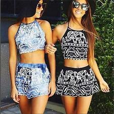 Fashion Women Two-piece Floral Print Halterneck Backless Sexy Tops + Shorts B