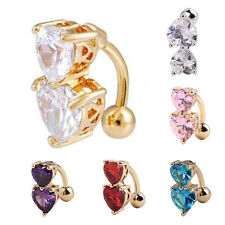 1PC Heart Bar Belly Ring Body Piercing Button Navel Reverse Gold Plated Jewelry