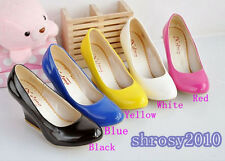 Womens Ladies Wedge Candy Color Block High Heels Solid Pumps Shoes AU All Size