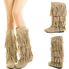Beige Moccasin Moc Round Toe 4 Fringe Layer Shaft Mid Calf Knee Womens Flat Boot