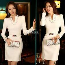 Women Elegant Office Business Formal Tunic Cocktail Stretch Dress Wear to Work