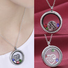 Living Memory Floating Charm Glass Round Locket Necklace Chain Love Mom Forever