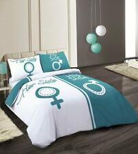TRENDY NEW TEAL & WHITE HIS AND HERS SIDE DUVET COVER BED SET DOUBLE OR KING