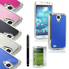Luxury Brushed Aluminum Chrome Hard Case for Samsung Galaxy S4 i9500 Pen + Film
