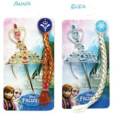 Elsa Anna Frozen Snow Queen Magic Wand Tiara Crown Blonde Braid Wig Hair Set