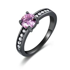 Fashion Sz 7-10 Womens Pink Sapphire Black Gold Filled Wedding Halo Rings Gift