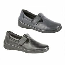 Mod Comfys Womens Ladies Leather T-Bar Velcro Comfort Lined Casual Padded Shoes